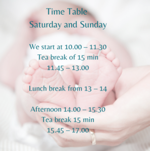 Time Table HypnoBirthing Class Online